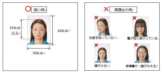 証明写真の例